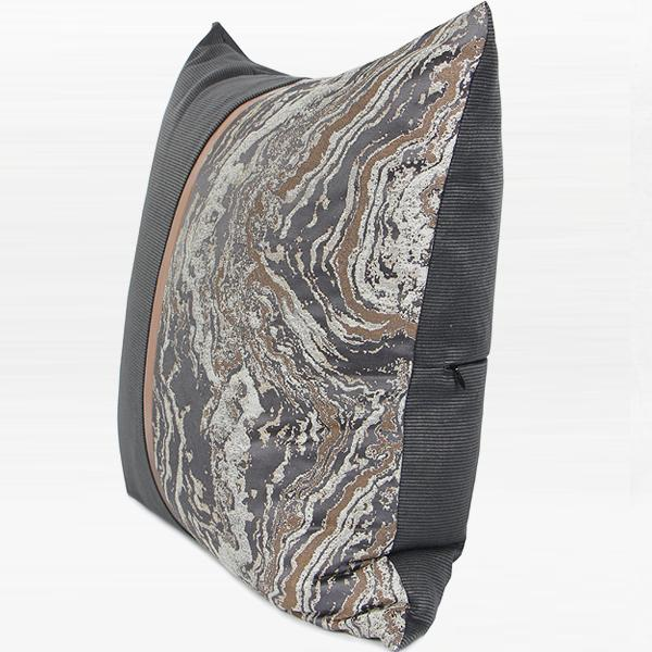 "Dark Gray and Gray Marble Two Area Pillow with Gold Line 20""X20"" - G Home Collection"