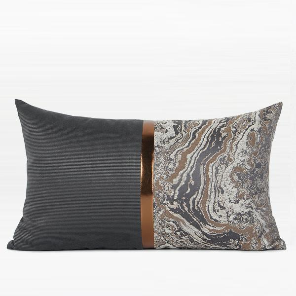 "Dark Gray and Gray Marble Two Area Pillow with Gold Line 12""X20"" - G Home Collection"