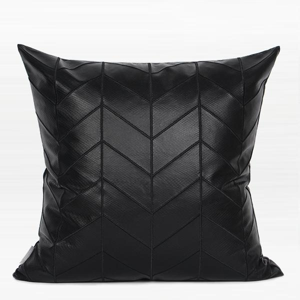 "Black Faux Leather Chevron Pattern Pillow 20""X20"" - G Home Collection"