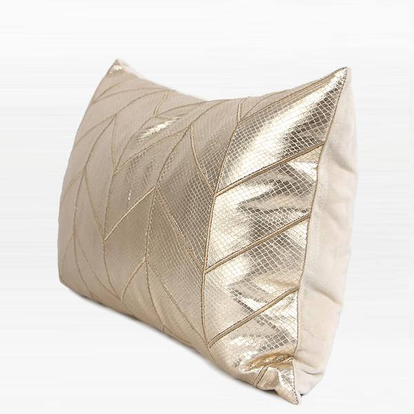"Gold Faux Leather Chevron Pattern Pillow 12""X20"" - G Home Collection"