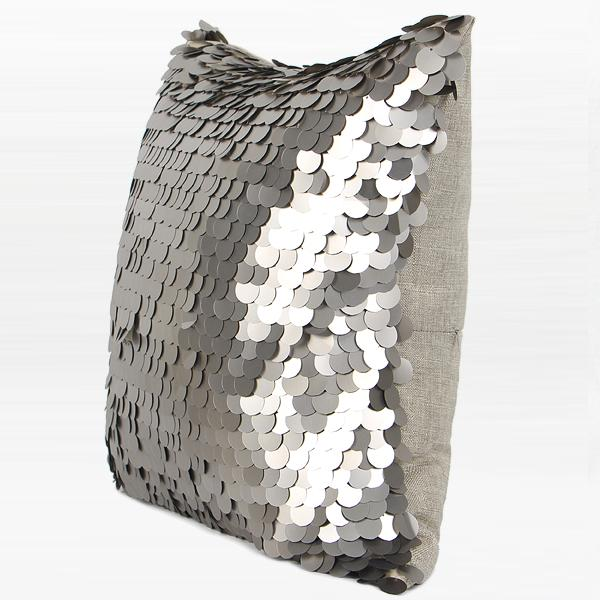 "Silver Round Sequins Pillow 17""X17"" - G Home Collection"