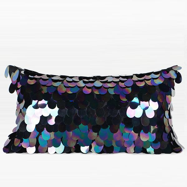 "Black Oval Sequins Pillow 12""X20"" - G Home Collection"