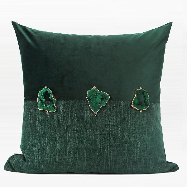 "Dark Green Crystal Centerpiece Pillow 20""X20"" - G Home Collection"
