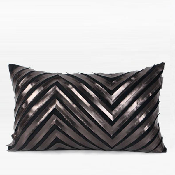 "Black Chevron Faux Leather Embroidered Pillow 12""X20"" - G Home Collection"