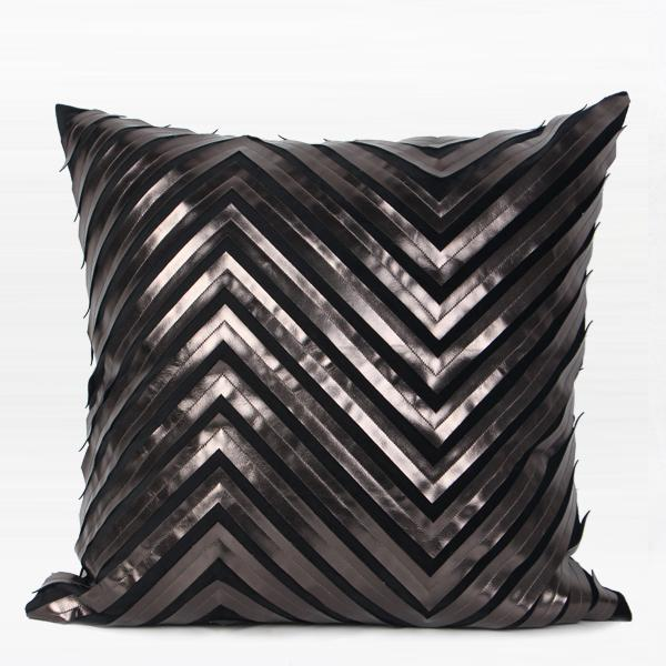 "Black Chevron Faux Leather Embroidered Pillow 20""X20"" - G Home Collection"