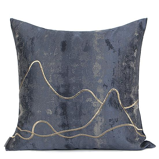 "Blue Embroidered Gold Wave Line Pillow 20""X20"" - G Home Collection"