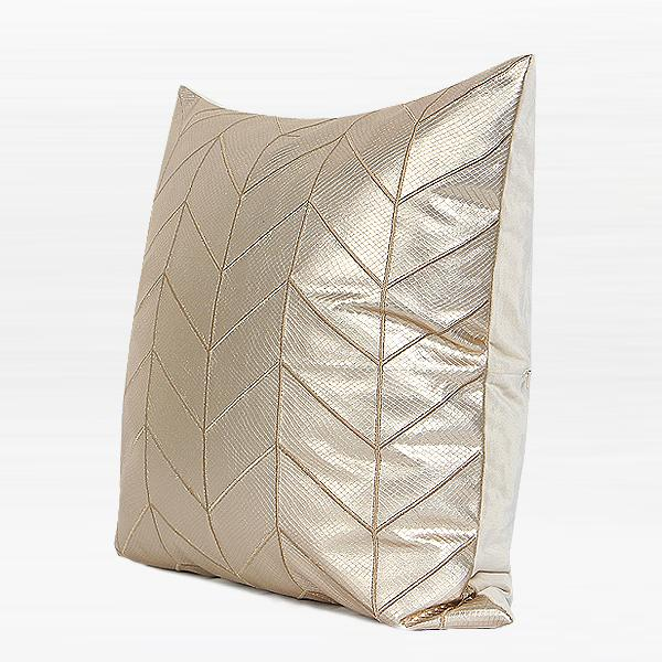 "Gold Faux Leather Chevron Pattern Pillow 20""X20"" - G Home Collection"