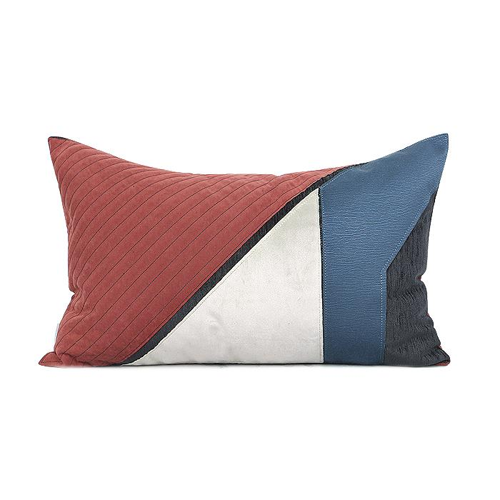 "Blue Red Picasso Style Pillow 12""X20"" - G Home Collection"
