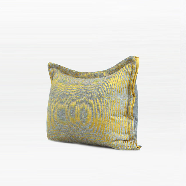 "Yellow Abstract Silver Line Lumbar Pillow 12 X 20"" - G Home Collection"