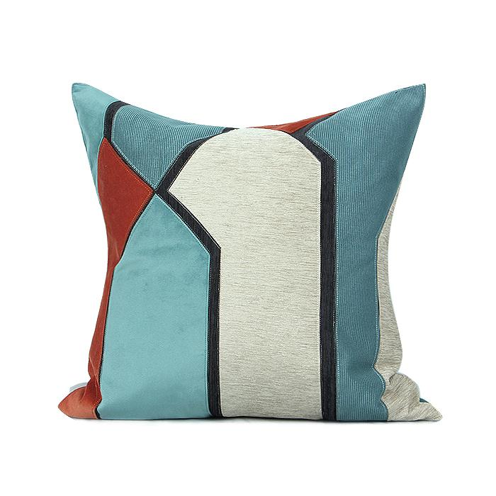 "Lake Blue Orange Picasso Style Pillow 20""X20"" - G Home Collection"