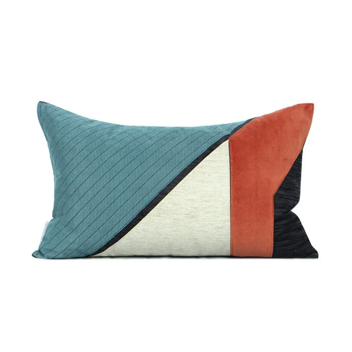 "Lake Blue Orange Picasso Style Pillow 12""X20"" - G Home Collection"