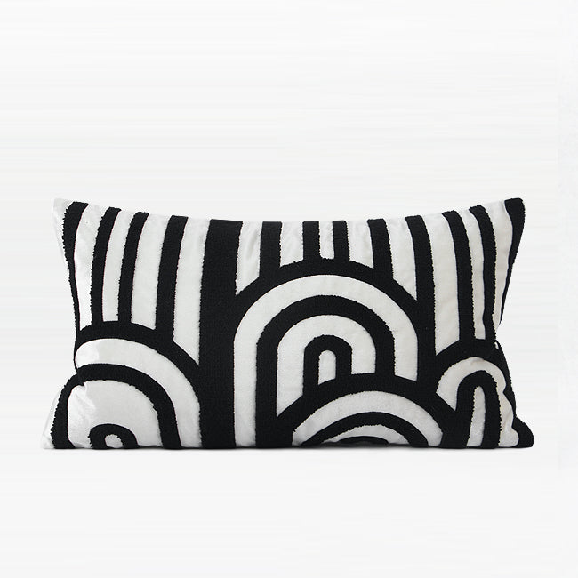 "Black White Cloud Textured Lumbar Pillow 12 X 20"" - G Home Collection"