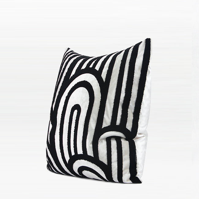 "Black White Cloud Textured Square Pillow 20 X 20"" - G Home Collection"