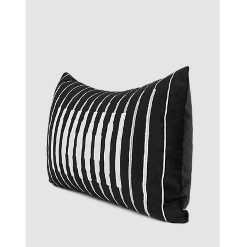 "Black and White Line Transform Embroidered Pillow 12 X 20"" - G Home Collection"