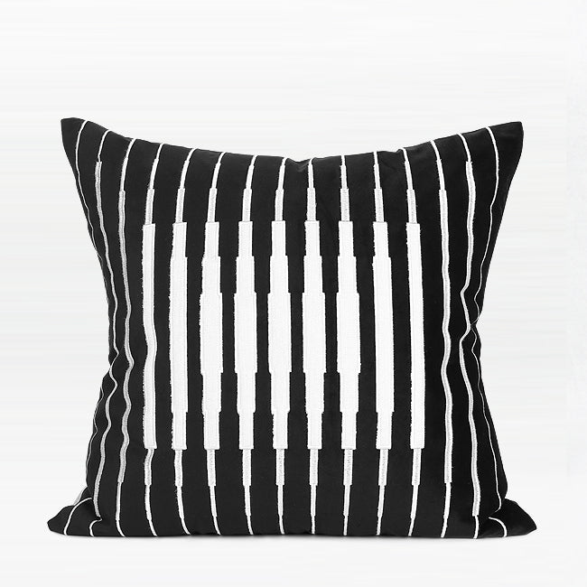 "Black and White Line Transform Embroidered Pillow 20 X 20"" - G Home Collection"