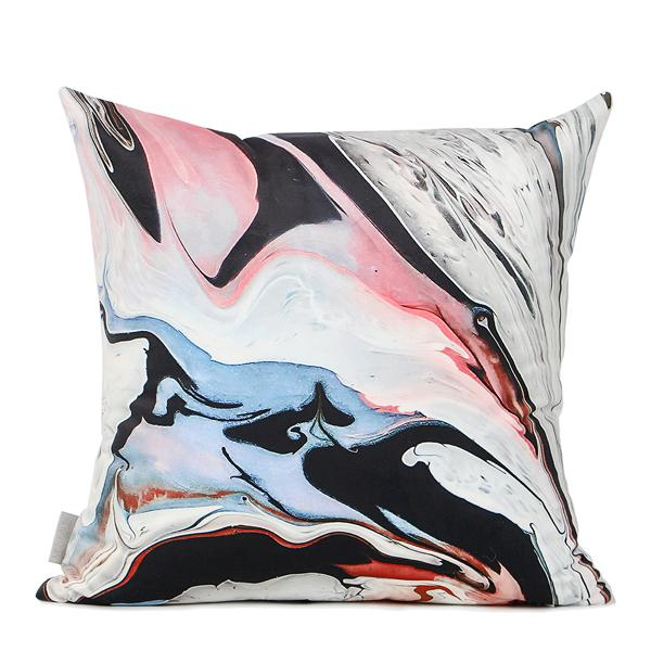"Red Black Abstract Oil Painting Digital Printing Flannel Pillow 18""X18"" - G Home Collection"