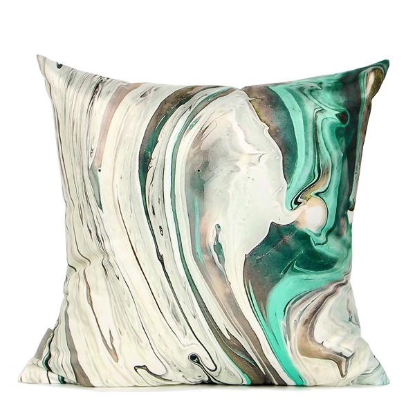"White Green Abstract Oil Painting Digital Printing Flannel Pillow 18""X18"" - G Home Collection"