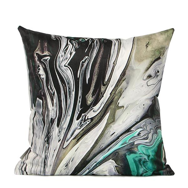 "Black Green Abstract Oil Painting Digital Printing Flannel Pillow 18""X18"" - G Home Collection"