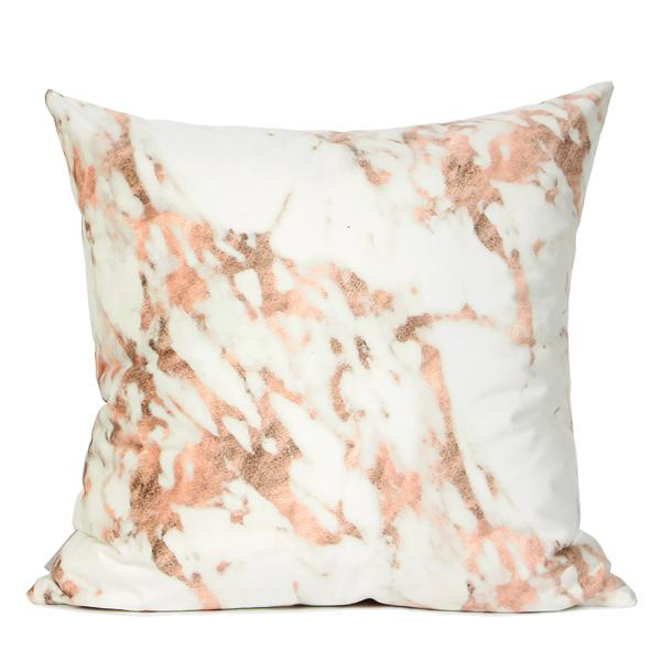 "Pink Marble Digital Printing Flannel Pillow 18""X18"" - G Home Collection"