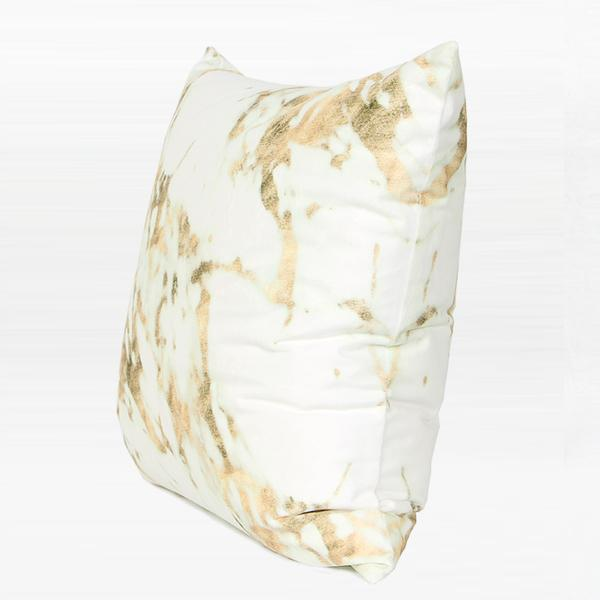 "Gold Marble Digital Printing Flannel Pillow 18""X18"" - G Home Collection"