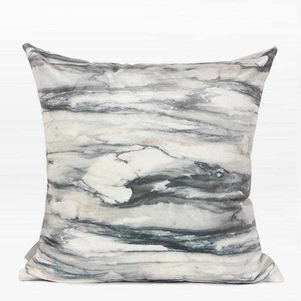 "Gray Marble Digital Printing Flannel Pillow 18""X18"" - G Home Collection"
