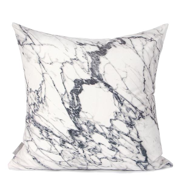 "White Gray Marble Digital Printing Flannel Pillow 18""X18"" - G Home Collection"