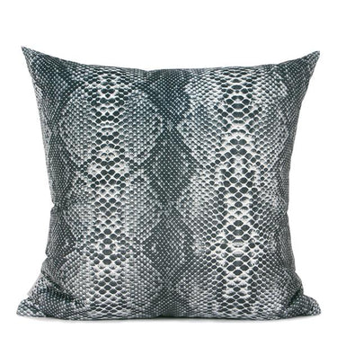 "Dark Gray Snakeskin Pattern Digital Printing Flennel Pillow 18""X18"" - G Home Collection"