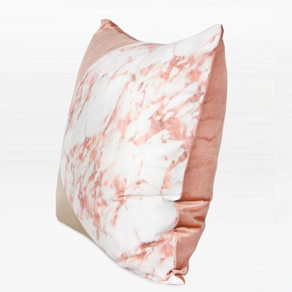 "Pink Gold and Pink Marble Three Color Pillow 18""X18"" - G Home Collection"