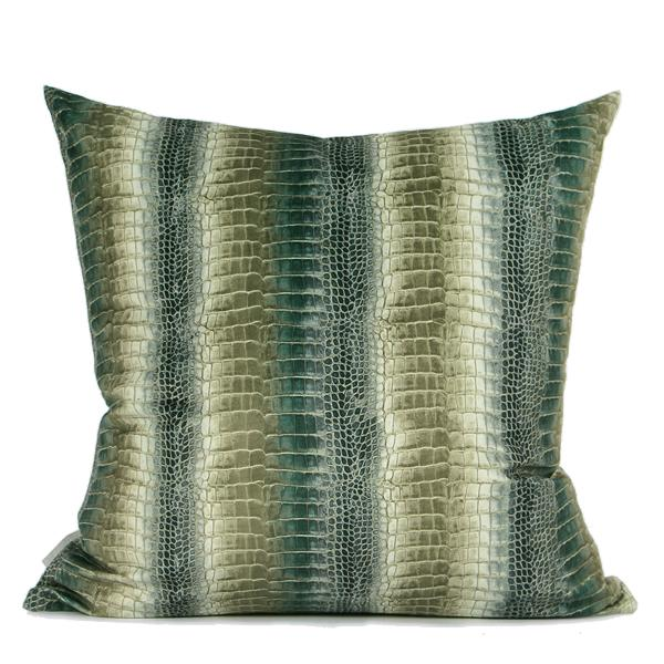 "Green Stripe Snakeskin Digital Printing Flannel Pillow 18""X18"" - G Home Collection"