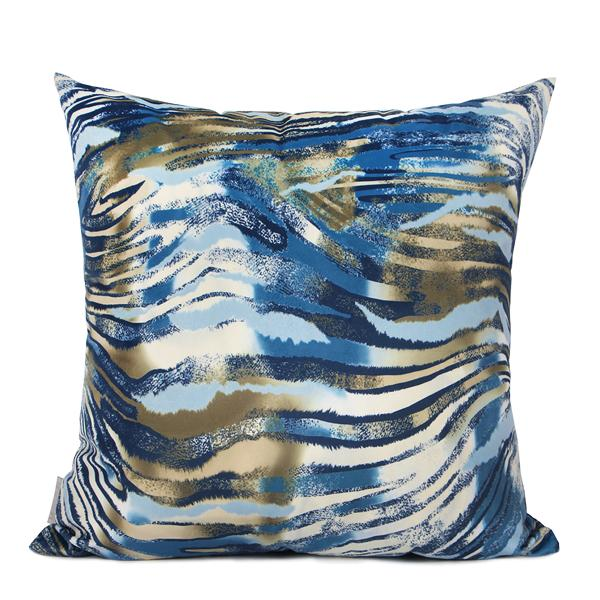 "Blue Black Snakeskin Digital Printing Flannel Pillow 18""X18"" - G Home Collection"