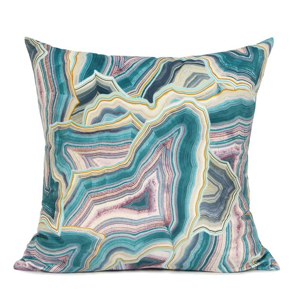 "Lake Blue Agate Pattern Digital Printing Flannel Pillow 18""X18"" - G Home Collection"