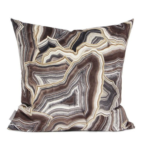 "Brown Agate Pattern Digital Printing Flannel Pillow 18""X18"""