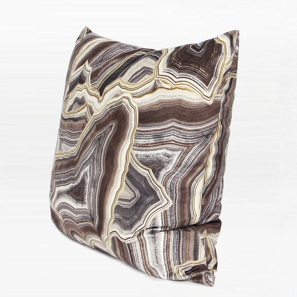 "Brown Agate Pattern Digital Printing Flannel Pillow 18""X18"" - G Home Collection"