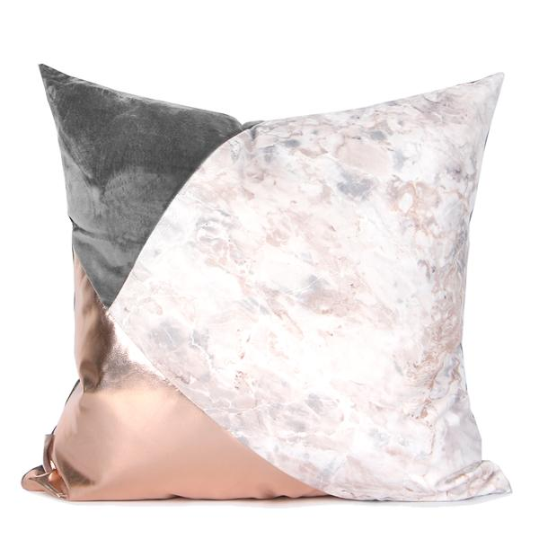 "Gray Rose Gold and Marble Three Color Pillow 18""X18"""