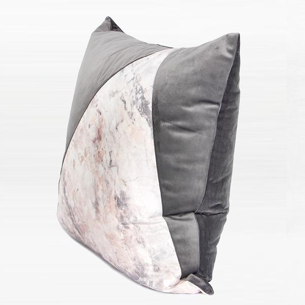"Gray and Marble Two Color Pillow 18""X18"" - G Home Collection"