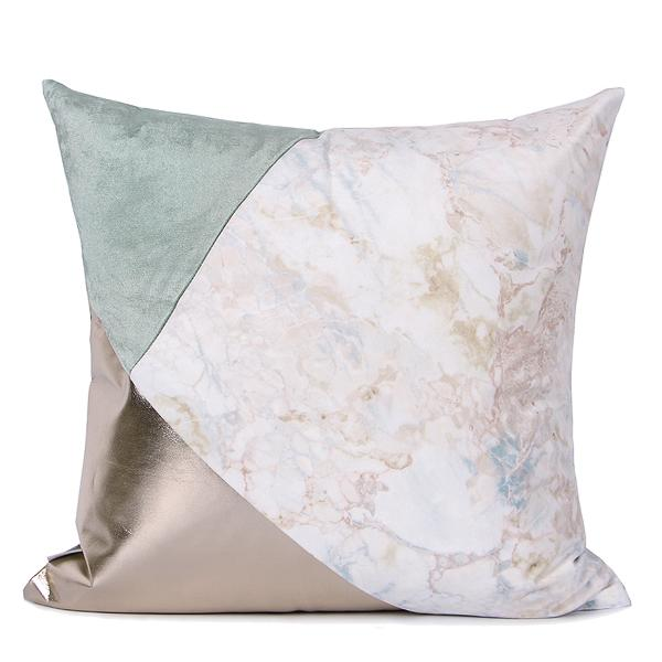 "Lake Blue Light Gold and Marble Three Color Pillow 18""X18"" - G Home Collection"