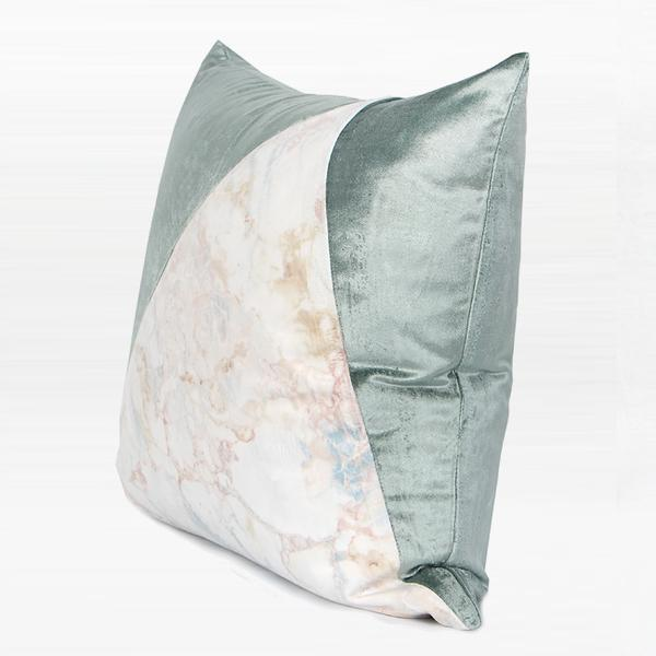 "Lake Blue and Marble Two Color Pillow 18""X18"" - G Home Collection"