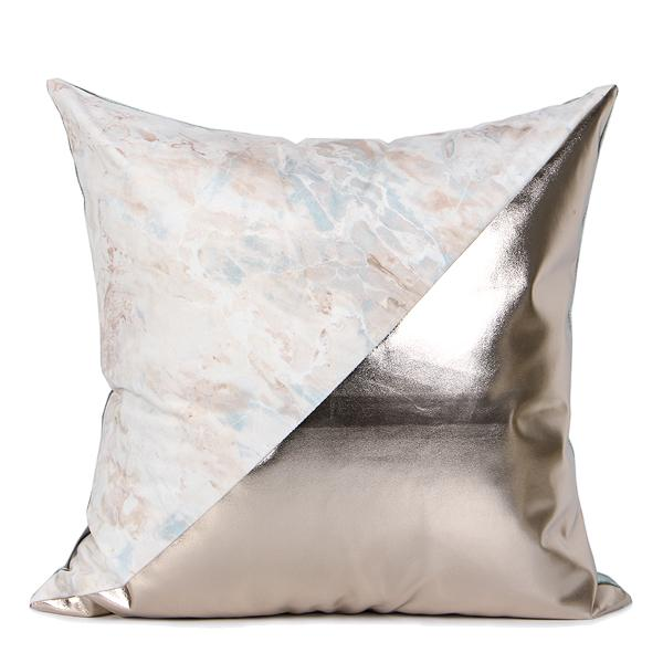 "Lake Blue and Light Gold Faux Leather Two Color Pillow 18""X18"" - G Home Collection"
