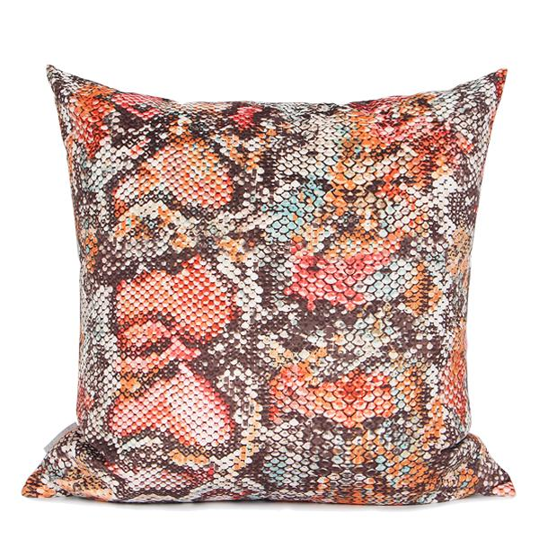 "Snakeskin Pattern Digital Printing Flannel Pillow in Orange 18""X18"" - G Home Collection"