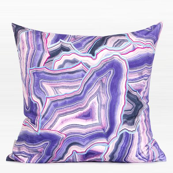 "Purple Agate Pattern Digital Printing Flannel Pillow 18""X18"" - G Home Collection"