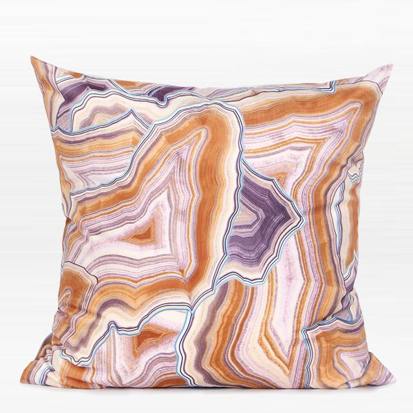 "Orange Agate Pattern Digital Printing Flannel Pillow 18""X18"" - G Home Collection"