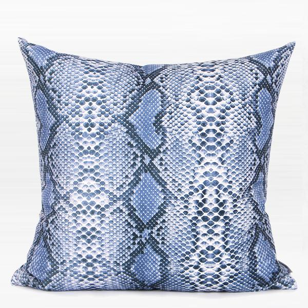 "Light Blue Snakeskin Pattern Digital Printing Flennel Pillow 18""X18"" - G Home Collection"