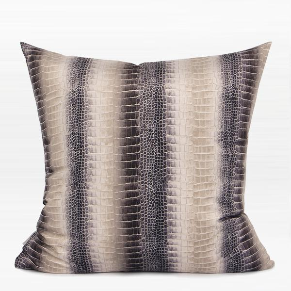 "Brown Stripe Snakeskin Pattern Digital Printing Flennel Pillow 18""X18"" - G Home Collection"