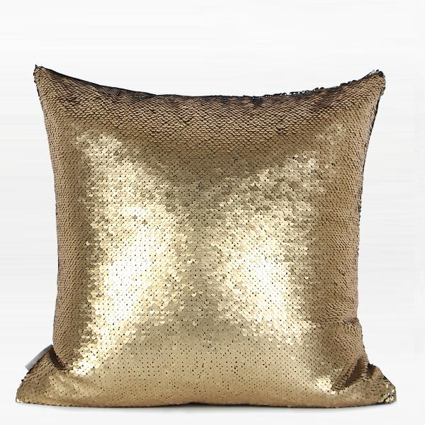 "Gold and Black Sequins Pillow 16""X16"" - G Home Collection"
