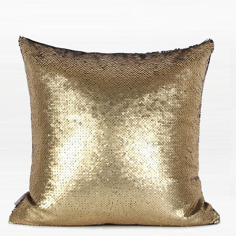 "Gold and Black Sequins Pillow 16""X16"""
