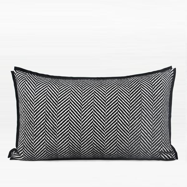 "Black and White Herringbone Pattern Pillow 12""X20"" - G Home Collection"