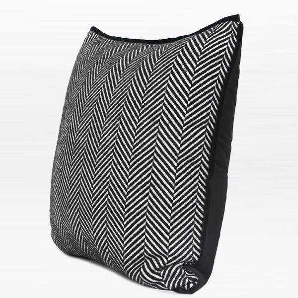 "Black and White Herringbone Pattern Pillow 18""X18"" - G Home Collection"