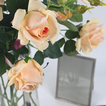 "Real Touch 2 Rose Bloom Stem in Champagne Color 37"" Tall - G Home Collection"