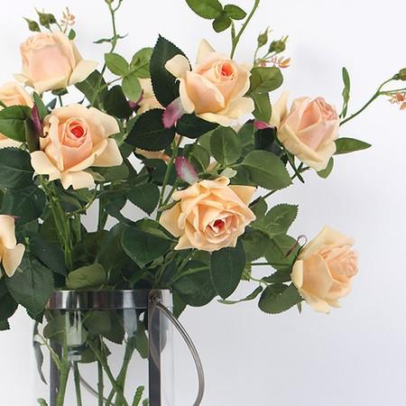 "Real Touch 2 Rose Bloom Stem in Champagne Color 37"" Tall - Gentille Home Collection - 1"
