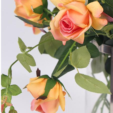 "Real Touch 2 Rose Bloom Stem in Orange 37"" Tall"